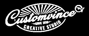 Logo van Customvince creative studio. Klik op dit logo om naar de website van Customvince te gaan.